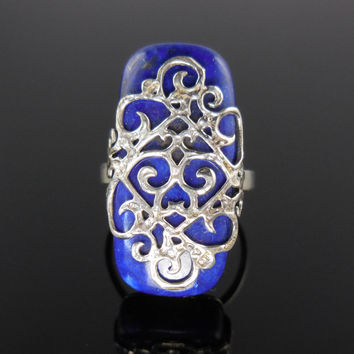 Lapis Cabochon Gemstone Filligree Sterling Silver Ring - Size 6.50
