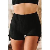 Crossfit Cutie Honeycomb Textured Ruched Spandex Shorts (Black)