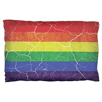 Distressed Gay Pride Flag Pillow Case