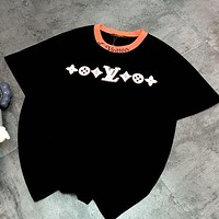 LV Louis Vuitton 2020 spring and summer new letter flocking heterochromatic thread embroidery collar Black