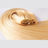 """Tressmatch® 16""""-18"""" Remy (Remi) Human Hair Clip in Extensions Light/bleach Blonde (Color #613) 9 Pieces(pcs) Full Head Volume Set [Set Weight: 4.1oz/115grams]"""