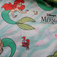 Vintage Disney Little Mermaid Princess Ariel Flat Bedding Sheet Twin Size Craft Fabric Clean Gently Used
