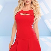 Red Sleeveless Cutout Dress with Mesh Detail