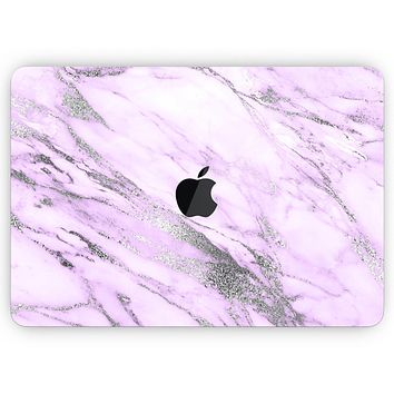 """Purple Marble & Digital Silver Foil V10- Skin Decal Wrap Kit Compatible with the Apple MacBook Pro, Pro with Touch Bar or Air (11"""", 12"""", 13"""", 15"""" & 16"""" - All Versions Available)"""