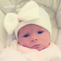 A Best Seller! Our Signature White Newborn Hospital Hat with Bow Baby's 1st Keepsake! COLOR CHOICE in CENTER of Bow. Every Baby Should Have!