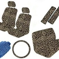 Safari Animal Print Auto Interior Gift Set - 2 Cheetah Low Back Front Bucket Seat Covers with Separate Headrest Cover, 1 Cheetah Steering Wheel Cover, 2 Cheetah Shoulder Harness Pressure Relief Cover, and 1 Bench Cove WITH FREE Microfiber WASH MITT