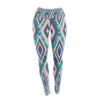 "Nika Martinez ""Tribal Ikat"" Blue Pattern Yoga Leggings"