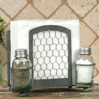Chicken Wire Salt Pepper And Napkin Caddy - *FREE SHIPPING*
