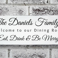 "Kitchen Art ""Eat Drink & Be Merry""Customized family name sign - Dining Room Sign- Kitchen decorations - Holiday Decor"