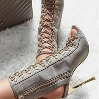 Strappy Rivets Women Fashion Peep Toe High Heels Shoes