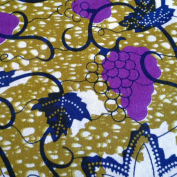 Dutch African Wax Print Fabric by the HALF YARD. Green, Navy Blue, and Purple--Grapes and Vines