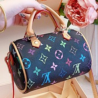 LV New fashion monogram print leather pillow shape shoulder bag handbag crossbody bag Black