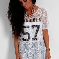Refresh White Lace Print T-Shirt | Pink Boutique
