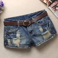 Hot Shorts LAUWOO 2018 Summer Women's Trendy Hole Denim  Fashion Beggars  Jean Low waist  Without BeltAT_43_3