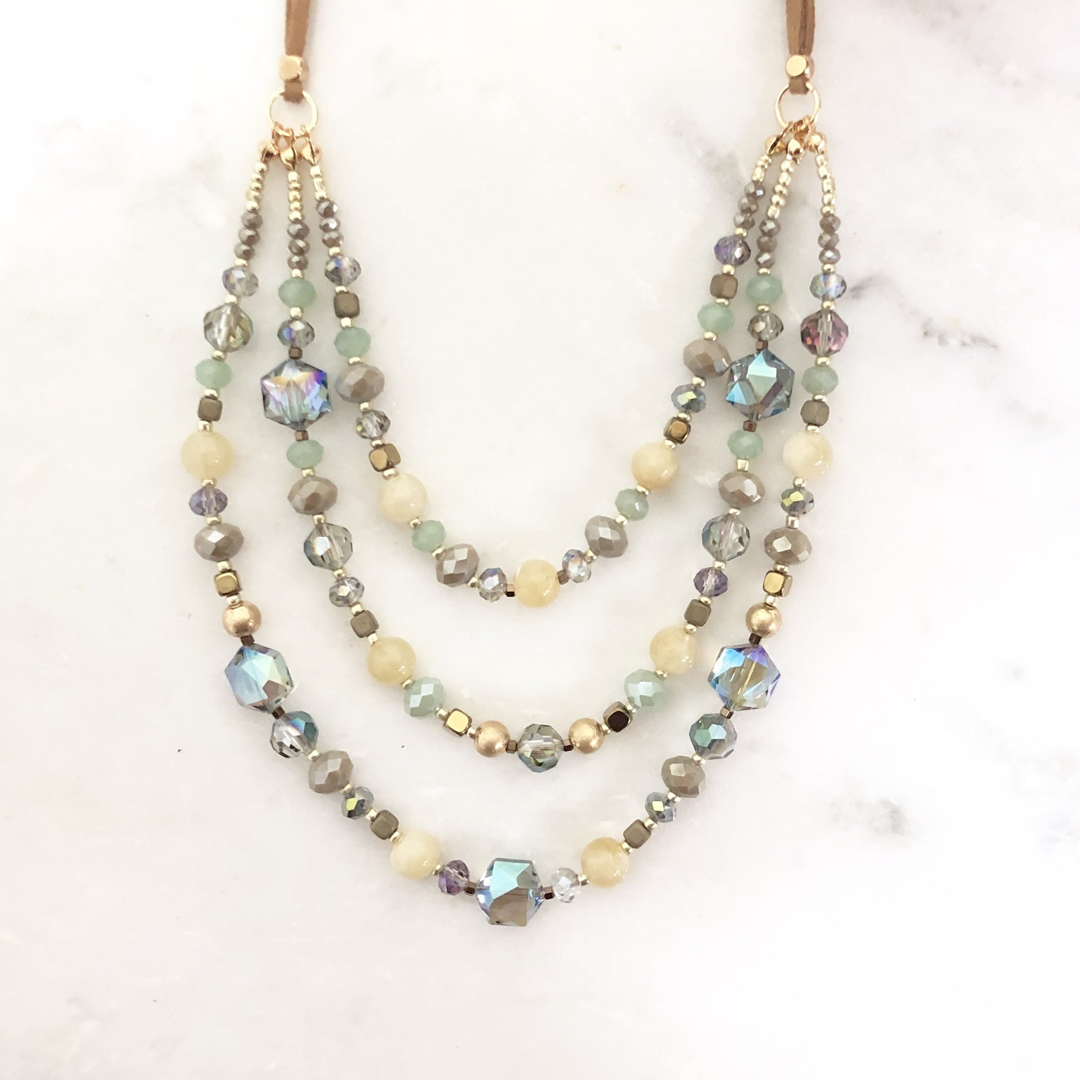 Image of Quasar Beaded Layered Necklace in Mint