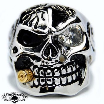 Who's Crying Now Bullet & Gem Stone Skull Ring (398)