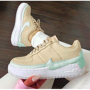 Air Force 1 Nike AF1 JESTER Transformed Crooked Sneakers Flat Shoes Beige+Mint green hook