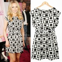 Elegant Black White Plaids Checks Sleeveless Women's Chic New Tunic Mini Dress