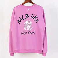 MLB NY Autumn And Winter New Fashion Letter Print Women Men Leisure Long Sleeve Top Pink&Purple