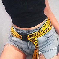 OFF-WHITE street fashion men's and women's street versatile belt yellow