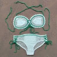 Strappy Crochet Embroidered Two Piece Bikini