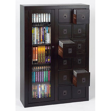 Leslie Dame Library Style 12 Drawer Multimedia Cabinet