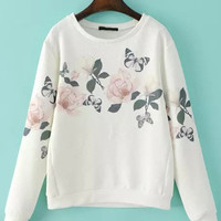White Floral Butterfly Print Long Sleeve Sweatshirt