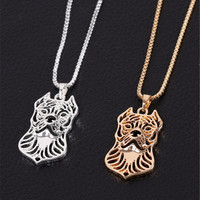 1pcs/lot Staffordshire Terrier Necklace Cute Hollow Animal Pendant Choker Necklace for Pet Lovers