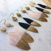 Handmade 14K Yellow Gold Dipped Feather Druzy Earrings