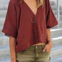 Pure Color Plunging Neck Half Sleeve Blouse