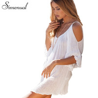 Women summer dress Bohemian style fashion sexy off the shoulder beach dress loose casual white dress new arrival women clothing