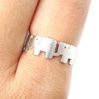 Baby Linked Elephant Parade Animal Ring in Silver | US Size 6 and 6.5 Only