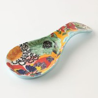 Painted Amaryllis Spoon Rest by Anthropologie in Blue Motif Size: One Size House & Home