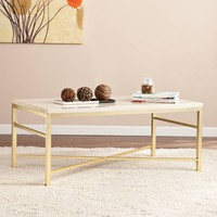 Southern Enterprises Orinda Cocktail Table in Matte Brass