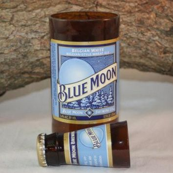 Unique Glassware Upcycled from Blue Moon Bottles, Shot Glass, Drinking Glass, Blue Moon Gift Set