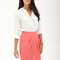Pleated Woven Pencil Skirt