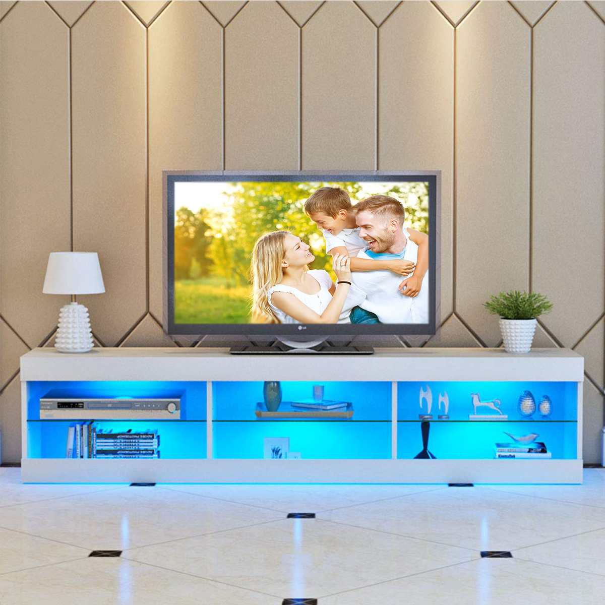 Image of Solid MDF Crafted Entertainment Center With LED Lighting