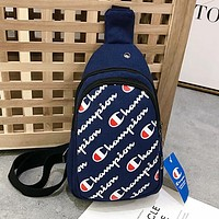 Champion Popular Women Men Canvas Satchel Purse Waist Bag Shoulder Bag Navy Blue