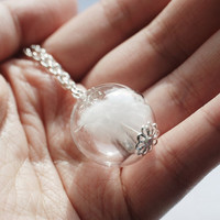 Angel Feather Necklace Glass Globe White Feather Faith Bird Nature Inspired Wish Purity Light