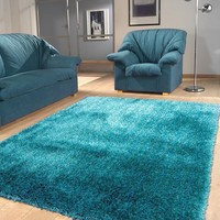 Polyester turquoise Area Rug Hand Tufted Size 5' X7'