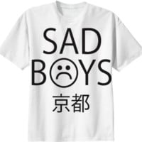 SAD BOYS TEE WHITE created by BEFORE THE SUN | Print All Over Me