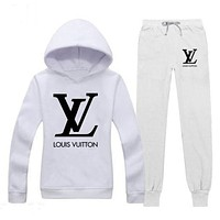 Louis Vuitton LV Trending Women Stylish Print Hoodie Top Sweater Pants Trousers Set Two-Piece Sportswear White I/A