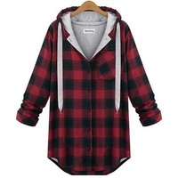 AIYANG Svitshot 2018 Women hoody Autumn Plaid bts Outerwear Long Sleeve Sweatshirts Women's Loose Casual Hoodies XL-XXXXL