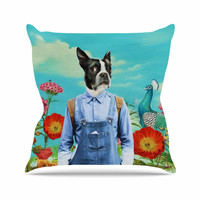 "Natt ""Family Portrait N3"" Blue Dog Outdoor Throw Pillow"