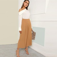 Boho Pleated Panel Wide Leg Loose Plain Crop Pants Women Mid Waist Workwear Elastic Waist Trousers