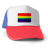 Royal Lion Trucker Hat (Baseball Cap) Gay Pride Rainbow Flag HD - Red White and Blue