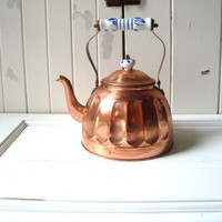 Brass Tea Pot, Vintage Rustic Farmhouse Copper and Brass Teapot with Delft Blue & White Ceramic Handle, Shabby Chic Kitchen Kettle, Gifts