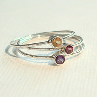 Choose Three Threads of Silver  Tiny Hammered Stack by MARYJOHN