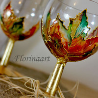 Autumn Wine Glasses, Aperitif Glasses, Shot Glasses,  Hand Painted Glasses, Grappa Glasses, Maple Leaves, Set of 2