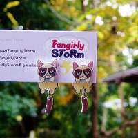 Grumpy Cat Internet meme Clinging earrings Handmade Geeky front and back kawaii two part post earrings